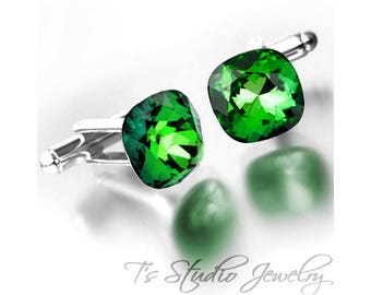 Cufflinks - Cushion Cut Fern Moss Green Cuff Links - Available in your choice of colors