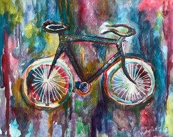 Bicicleta azul - padres día acuarela pintura bicicleta Resumen