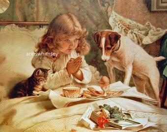 "Dog Art, Vintage Dog Art, Little Girl's Room  Art, Dog, Cat  and Little Girl Print  ""Suspense""  Restored Antique Print - #483"