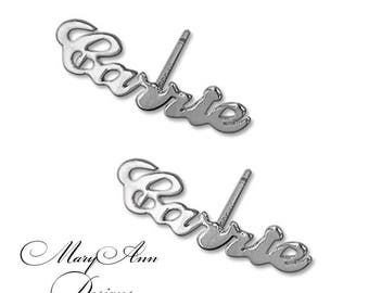 Personalized Stud Earrings In Sterling Silver - Name Earrings - Available In 24K Yellow Gold and 14K Rose Gold Plated