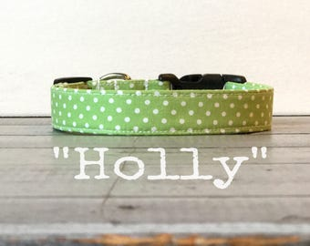 Girl DOG COLLAR, Dog Collars, The HOLLY, Dog Collar, Dog Collars for Girls, Green an White Polka Dot
