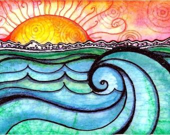 Waves Art A New Day beach art sunset sun art print painting ocean  seascape
