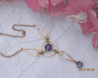 Antique amethyst necklace with pearls, 9ct gold, Art Nouveau necklace, wedding necklace, February birthstone, gift for her