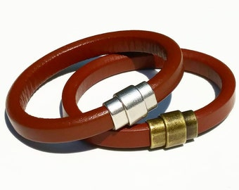 Bracelet Leather for Men Brown with Magnetic Clasp Hipster Gifts for Dad