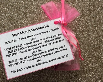 STEP MUMS personalised survival kit, keepsake, novelty gifts, Birthday, gifts for her, wedding favours