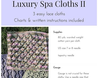 PDF PATTERN ONLY - Luxury Spa Cloths 2