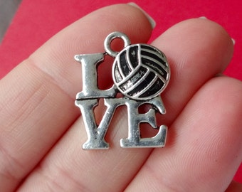 "4 ""LOVE"" Volleyball Charms 23x18mm"