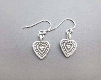 Vintage, Style, Sterling silver, Heart, Silver, Earrings, Lovers, Friends, Mom, Sister, Valentine, Gift