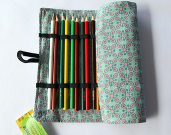 Large Pencil Roll - Holds 24 pencils - pink & green flowers, floral, daisy retro