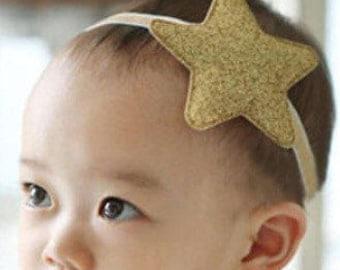 Newborn Headband, Star Elastic Headband, Glitter Headband