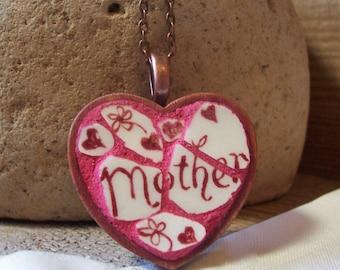 Heart Necklace Gift For Mom - Fine China Mini Mosaic Art Pendant - handmade heirloom keepsake - FREE USA SHIP!