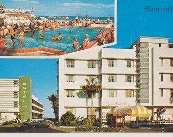 The Bancroft Hotel-Motel-Apartments, Miami Beach, Florida, Vintage Postcard, 1950's Motel, Road Trip, Ephemera