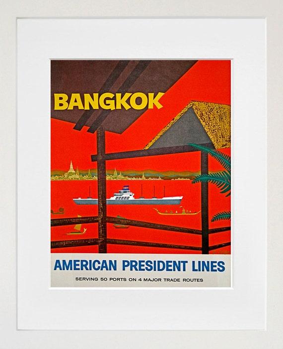 Art Thailand Poster Travel Print Bangkok Vintage Thai Home