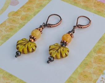 Autumn Gold, Earrings in Copper and Czech Glass