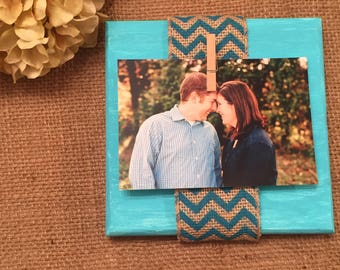 Teal wood block frame, wood photo holder, painted wood frame, rustic picture frame, 4x6 wood frame