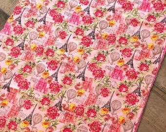 Baby Blanket  - Paris - Designer Baby Blanket  - Pink Chenille Backing