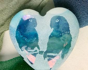 "Lampwork Focal Bead SRA ""Lovebirds"" Handmade Iridescent Watercolour Lustre Sandblasted Glass Heart Bead ~ Sea Tones"