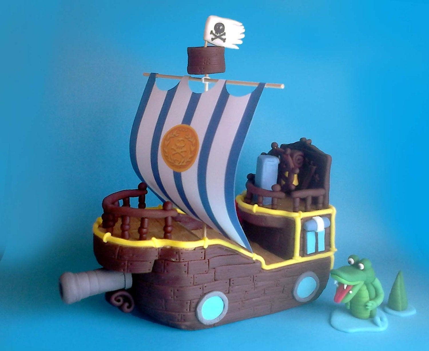Fondant Pirate Ship Cake Topper Bucky from Jake and