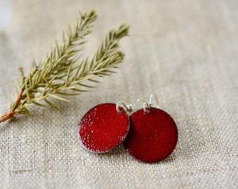 Marsala Enamel Earrings Everyday Earrings Round Dangle Earrings Handmade Enamel Artisan Jewelry Gift for Her Daughter Sister by Alery