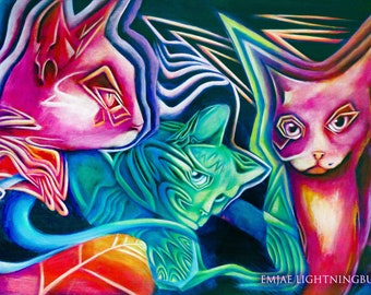 Acid Cats LIMITED EDITION 24x36 inch fine art print by EmJae Lightningbug