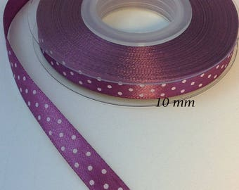 10 mm Amethyst shiny dots satin ribbon