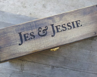 Custom Wedding Wine Box, Wine box ceremony, Memory Box, Time Capsule, Anniversary gift, love letters, first fight box, rustic wine box