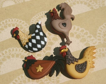 "Chicken Buttons - Chick Hen Rooster Sewing Button - 1 3/4"" Tall - 4 Shank Buttons"