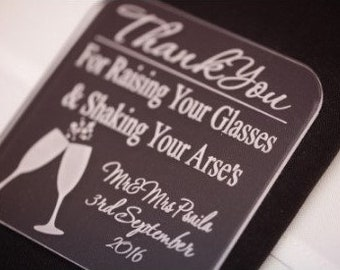 "Acrylic Coasters | Engagement | Event | Party | Bridal Shower | Bride Groom|  | Wedding Favour - ""Custom Coasters"""