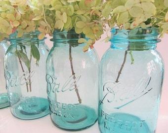 Blue Mason 6 Jars, Ball Perfect Mason, Canning Jar,Quart Size Antique Fruit Jar, Wedding Decor Centerpiece, Quart Jars