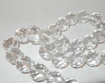 """Clear Quartz 12mm faceted beads 16"""" strand"""