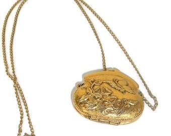 Vintage Locket, Corday Purse locket,Funky Finds, Locket Necklace, Ornate Locket, Long Necklace Locket Jewelry, Butterfly flowers
