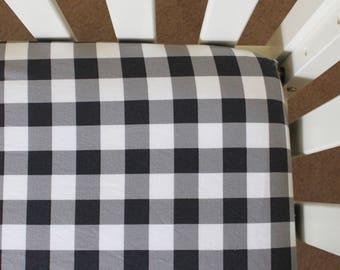Buffalo Plaid Crib Sheet, black and white crib sheet, baby bedding, crib bedding, nursery bedding, plaid nursery, plaid baby, gingham baby