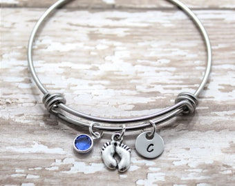 Baby Feet Bracelet - New Mom Bangle - First Mothers Day Gift - Personalized Baby Feet Bracelet - Moms Day Gift