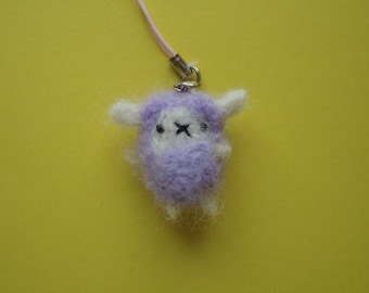 Needle felted miniature lavender sheep plush keychain