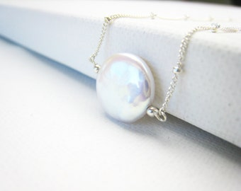coin pearl necklace pearl necklace wedding bridal jewelry bride bridesmaid necklace beach wedding pearl jewelry june birthstone gift for her