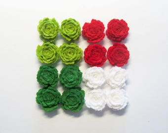 Felt flowers roses Set of 16 (red white green) small craft supply scrapbooking supplies headband handmade die cut applique Christmas decors