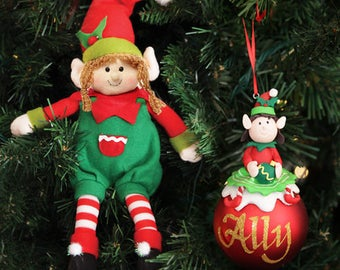 Girl Elf Shelf Sitter and Personalised Bauble Pack