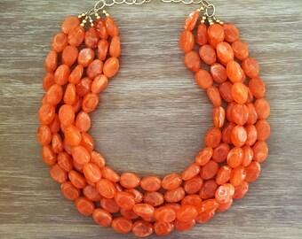 Orange Bead Necklace – Chunky Beaded Necklace Handmade in Orange Beads, Spring 2018 Fashion