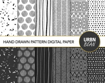Hand Drawn Pattern Digital Paper. Black and White Scrapbook Paper.  Hand Drawn Pattern. Minimalist gift wrap papers. Instant Download.