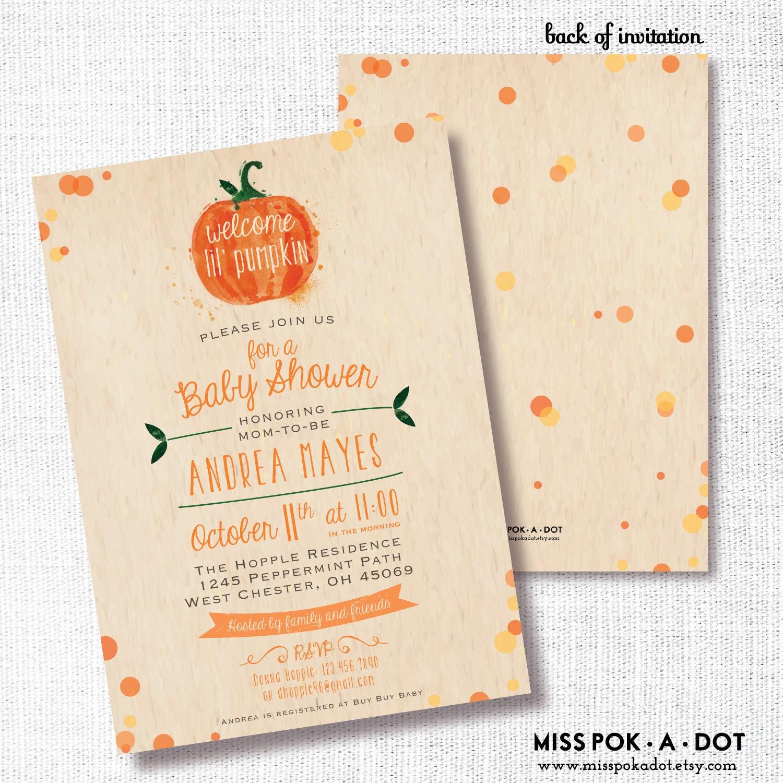 Pumpkin Fall Baby Shower Invitation Printable Little Pumpkin