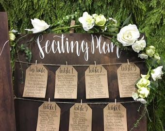 Rustic Wooden Shabby Chic Wedding Seating / Table Plan