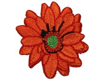 ID 6361 Orange Marigold Flower Patch Garden Blossom Embroidered Iron On Applique