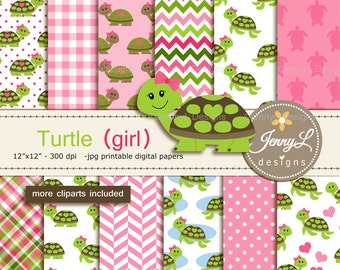 Turtle Girl Digital Papers and Cliparts, Pink Green Turtle for Digital Scrapbooking, Birthday Party, Invitations, Planners