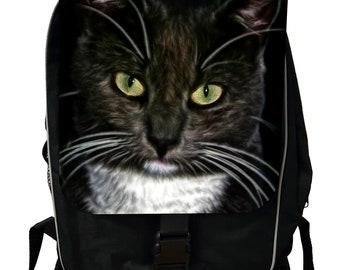 Kitten with Green Eyes - Black School Backpack