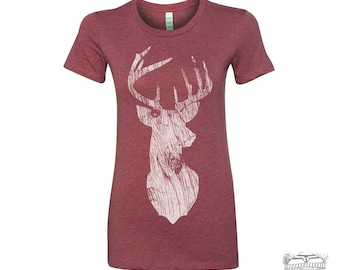 Womens DEER  t-shirt -hand screen printed tee s m l xl xxl (+ Colors Available) custom