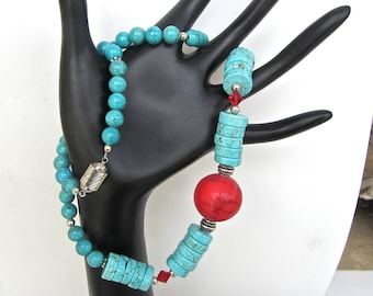 Bright Red magnesite NECKLACE focal bead with turquoise magnesite gemstones and sterling silver fantastic magnetic clasp