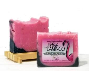 Pink Flamingo™ Natural Soap on Wood Deck