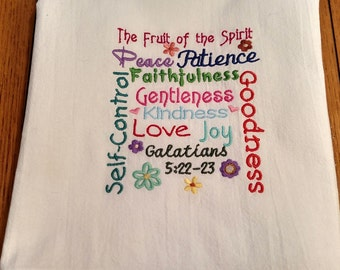 Fruit of the Spirit flour sack towel,  embroidered dish towel, kitchen tea towel, machine embroidery, Bible verse
