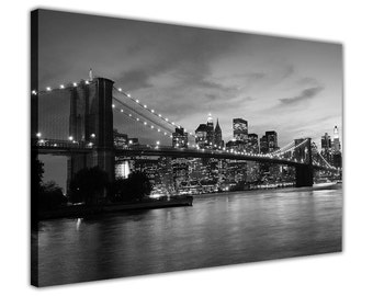 Black and White New York City Bridge Canvas Prints Wall Art Pictures Home Decoration Framed Modern Art Poster