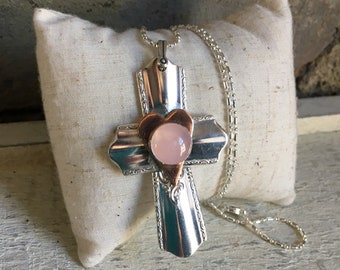 Rose Quartz Spoon Handle Cross Pendant